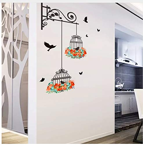 HAJKSDS Colorful Flower Birdcage Flying Birds Wall Sticker Home Decor Creative Living Room Tattoos Wallpaper Bedroom Window Decoration (Colorful Flower Tattoos)