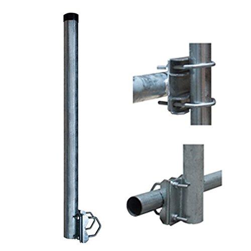 SkyRevolt 100cm Ø 60mm Mast-Verlängerung Geländer-Halter mit 2 Schellen Balkon-Halterung für Sat-Schüssel Antenne Montage 1m Stahl verzinkt
