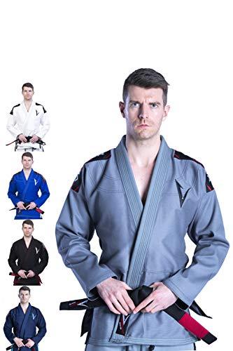 Vector Leichter vorlaufender brasilianischer Jiu Jitsu BJJ Gi Kimono mit weißem Gürtel aus 100% Baumwolle Attila-Serie, Herren, grau, A1 (Kinder Jiu-jitsu Gi-mädchen)