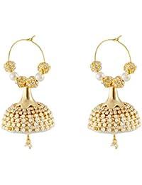 Three Shades White Designer Enamel Small Mini Silk Thread Dori Jhumki Earring Set for Women