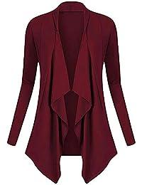 MEIbax Abrigos Mujer Invierno Mujeres Sólido Drapeado Delantero Abierto Irregular Casual Cardigan Escudo Fino Tops Abrigos