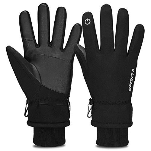 Cevapro Warm Winterhandschuhe Wasserdicht Touchscreen Handschuhe Fahrradhandschuhe Winddicht Atmungsaktiv Running-Handschuhe Männer Frauen für Outdoor Sports, Schwarz, M