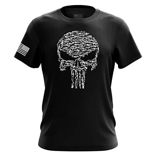 Punisher Herren T-Shirt USA Blue Line American Flag Military Gun Army Made in USA - Schwarz - XX-Large - American Heavyweight T-shirt