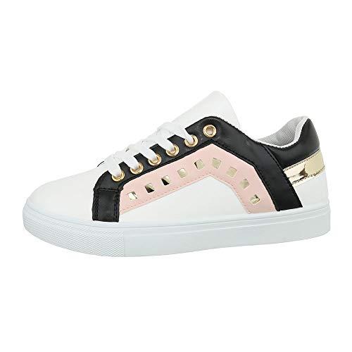 Ital-Design Damenschuhe Freizeitschuhe Sneakers Low Synthetik Weiß Rosa Gr. 36