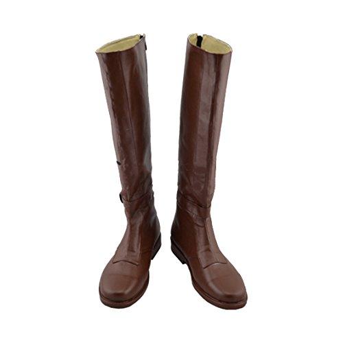 Für Erwachsene Obi Wan Kostüm - Obi Wan Stiefel Boots SW Cosplay Kostüm Braun PU Leder Schuhe Shoes Zubehör Männlich 43