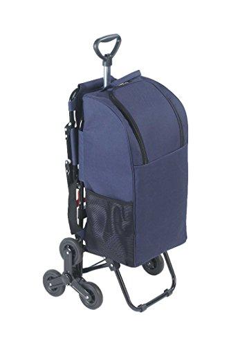 Wenko 84601500 Einkaufstrolley mit Sitz, Dreirad System fürs Treppensteigen, Fassungsvermögen 35 L, Aluminium, 36,5 x 103 x 65 cm, silber matt