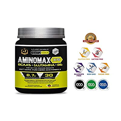 AMINOMAX X9 - 100% Pure Branched Chain Essential Amino Acids (BCAAs) + Glutamine + Vitamin B6 - Increase Your Muscle Mass and Speed up Recovery - Watermelon Flavour - 30 Servings. from Fersa Ibérica