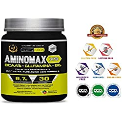 AMINOMAX X9 - 100% Puros Aminoácidos Ramificados Básicos y Esenciales BCAAŽS + Glutamina + Vitamina B6 - Aumenta tu Masa Muscular y Obtén Una Rápida Recuperación - Sabor Sandia - 30 tomas.