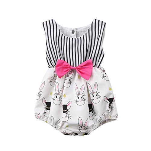 Baby Mädchen Sommer Strampler Ein PC Prinzessin Sommer Strampler Tier Druck Baumwolle O-Kragen ärmellos Kleidung für Babys 0-18 Monate (Weiß, 12 Monate)