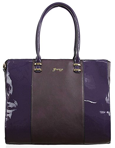Kukubird Hi-Gloss dettaglio ecopelle design Large Tote Handbag Shoulder Bag Purple El Envío Libre 2018 Nueva Envío Libre Exclusiva EBr1LE2