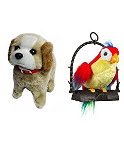 Gifts Online Jumping Dog & Talking Parrot Combo - A Unique Gift Set Of Two Toys