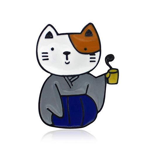 Vektenxi 1 Stück Unisex Kimono Tier Katze Muster Emaille Brosche Kleidung Handtasche Schal Krawatte Hut Dekor Langlebig und Nützlich