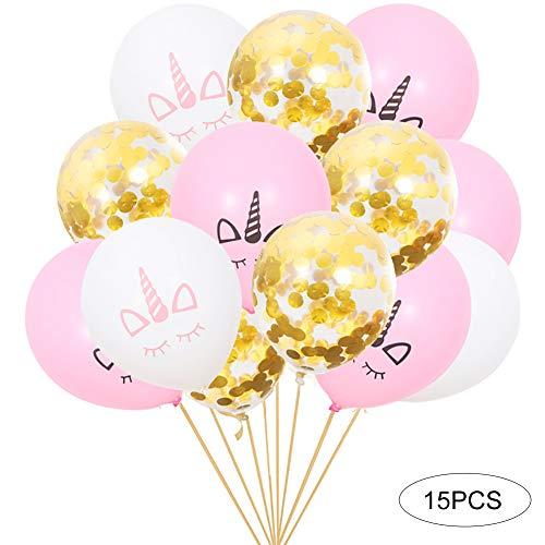 JER 15Stk/Set Einhorn Geburtstags Ballon Party Dekorationen Fügen 10Stk Monochrome Printed Einhorn und 5Stk Goldconfetti Home Zubehör