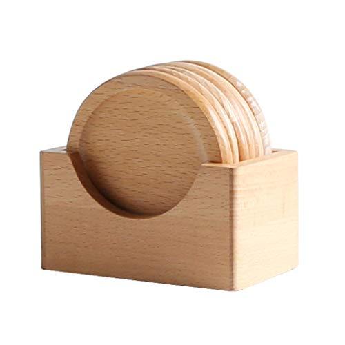 Y-only Holz Untersetzer 6er Pack mit Halter Umweltfreundliche 100% Naturholz Untersetzer, Wärmeisolierpads, Glas-Getränkematten
