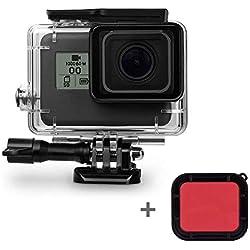 leegoal Boîtier Étanche pour Gopro Hero 7 6 5 Black/Hero (2018), 45M plongée boîtier Case de Protection avec Filtre Rouge et Accessoires de Support pour Go Pro Hero (2018)/7/6/5 caméra d'action
