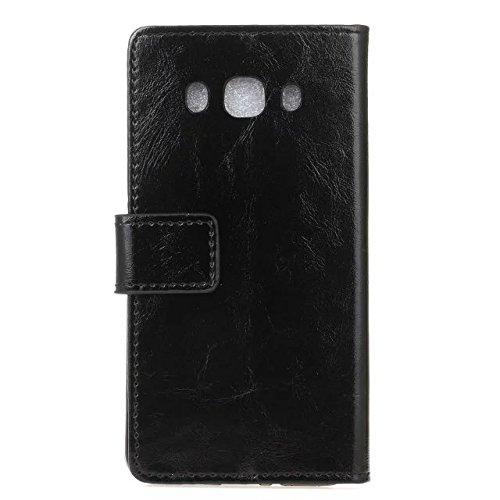 Samsung J5 (2016) Étui, couleur unie Crazy Horse texture Rétro étui en cuir de protection Horizontal Flip Stand Case avec couvercle portefeuille Slots de carte pour Samsung Galaxy J5 (2016) ( Color :  Black