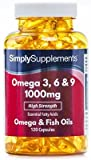 Omega 3-6-9 1000mg - 240 cápsulas – Hasta 8 meses de suministro – Para la salud del corazón, del cerebro y de la vista - SimplySupplements