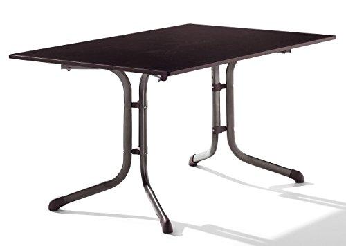 Sieger 1170-70 Boulevard-Tisch mit Puroplan-Platte 140 x 90 cm, Stahlrohrgestell marone, Tischplatte Schieferdekor mocca