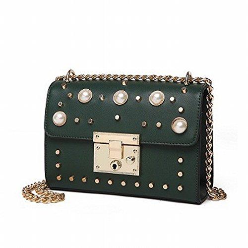 Weibliche Perlenkette Kleine Tasche Tag Schulter Messenger Tasche Grün