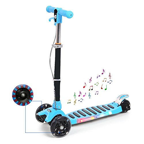 In Led-licht Bar 33 (Qulista My First Kinderroller Fantasy Lights Big Wheel Scooter 125mm LED Rollen höhenverstellbar 74-86cm Aluminiumlegierung belastbar 90kg (Musik 3-Rad Blau))