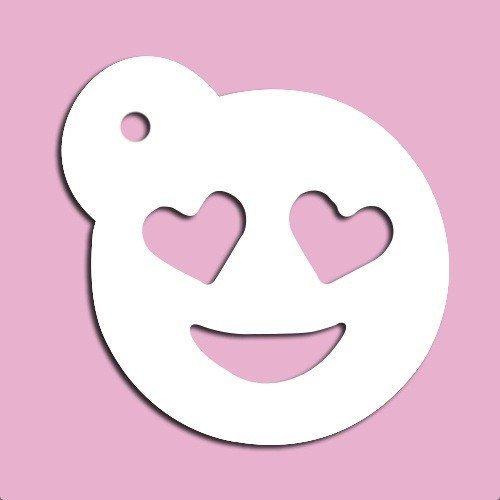 Emoji-mit Herz Augen Schablone 8,9cm (Mit Emoji Herz Augen)