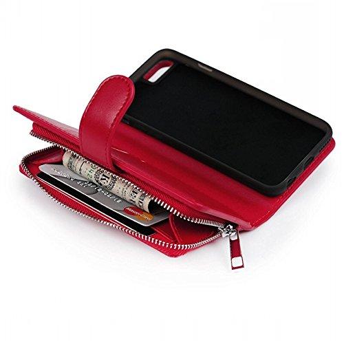 Cover iPhone 6 / iPhone 6S, Yokata Lusso Vintage Multipla Case Magnetico Zipper Cerniera Wallet Custodia PU Pelle Libro con Soft Silicone Bumper Backcover Copertura Case - Red Rose Rosso