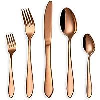 HOMQUEN Juego de cubiertos de oro rosa de 30 piezas, set de cubiertos de acero inoxidable 18/0, servicio para 6 personas, cubiertos de comedor