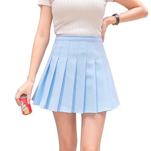 en kurze hohe Taille gefaltete Skater Tennis Schule Rock, Blau - 36 /M (Blau Rock Kostüm)