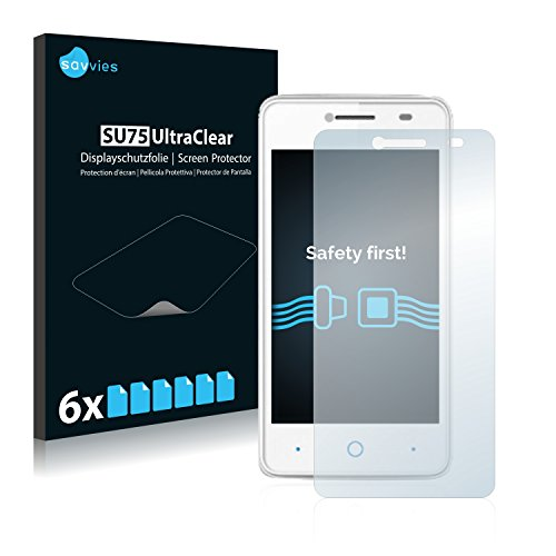 Savvies Schutzfolie kompatibel mit ZTE Blade C341 (6 Stück) - ultraklare Bildschirmschutz-Folie