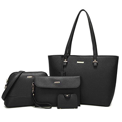ELIMPAUL Damen Handtaschen Schultertasche Geldbörse Kartenhalter Tasche set 4pc -