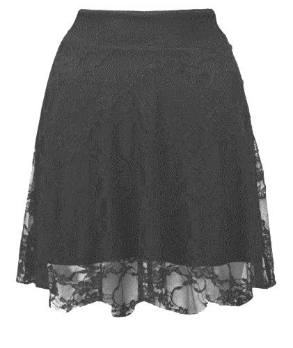 Femmes Floral Lace Taille Haute Jupe patineuse 36-50 Black