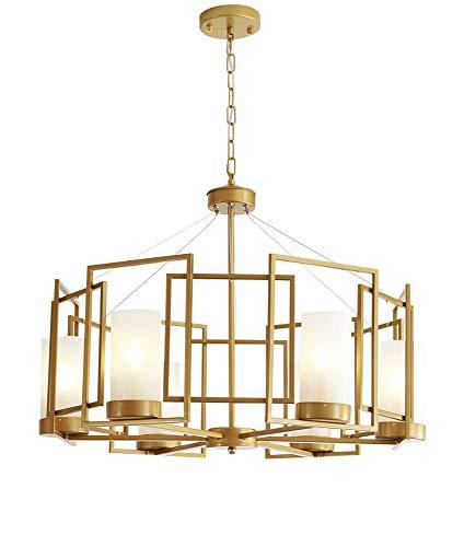 YHY Einfach Kreativ LED Hänge Pendelleuchten Reto Antiquität Kronleuchter Glas Lampenschirm Deckenleuchten Duplex House Wohnzimmer Restaurant Villa, 6 Light -