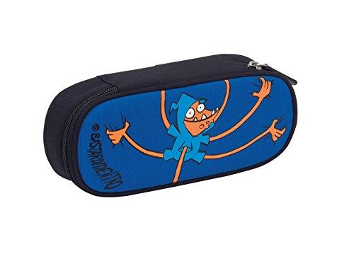 Bustina round plus bastardidentro vis , blu arancione , scomparto attrezzato per penne