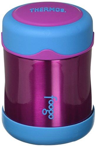 THERMOS FOOGO Vacuum Insulated Stainless Steel 10-Ounce Food Jar, Aubergine/Blue