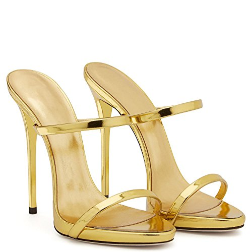 Elobaby Frauen High Heel Sandale mit Ferse Weiblich Tragen Mule Plus Größe #, Yellow, 44