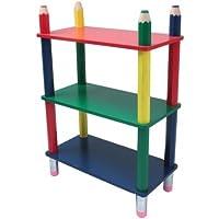 Preisvergleich für Kinderregal, Möbel für's Kinderzimmer, Kindermöbel, Kiefernholz, bunt lackiert, Bleistift-Design