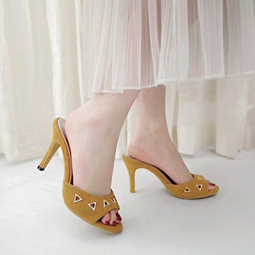 Aisun Damen Offene Zehen Cut Out Metallic Dreieck Stiletto High Heels Pantolette Gelb