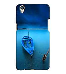 Printvisa Blue Anchored Boat Back Case Cover for Oppo F1 Plus::Oppo R9