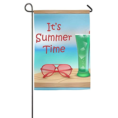 HujuTM Personalized Garden Flag - Custom Its Summer Time Cocktail and Sunglasses Yard Flag 12 X 18 Inches