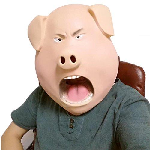OULII Máscara de Cabeza de Látex de Cerdo Disfraces de Halloween Máscara de Horror Adulto