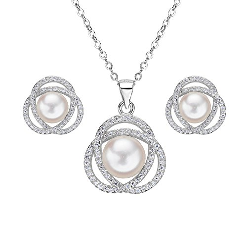 Flyonce Women's 925 Sterling Silver CZ Freshwater Cultured Pearl Bridal Roseflower Necklace Earrings Set Clear