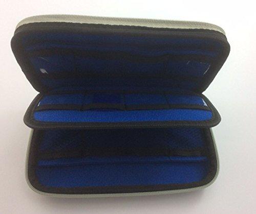 Flashwoife EVA Nylon Case Hartschalen- Aufbewahrungstasche / Organizer mit 12 Taschen für USB Sticks, Speicherkarten und externe Festplatten in Silber/Blau Scan-safe Wallet