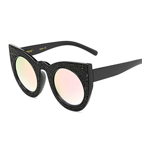 FILTERQ Unisex-Adult Sparkle Sparkling Vintage Star Strass Cat Eye Sonnenbrille Neuheit Glitter Shades Damen & Mädchen,Black/BarbiePowder