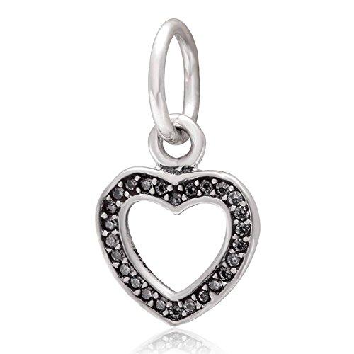 Soulbead Bighole in argento puro 925 con pendente e Charm a forma di cuore innamorato, zirconia cubica, regalo per San Valentino