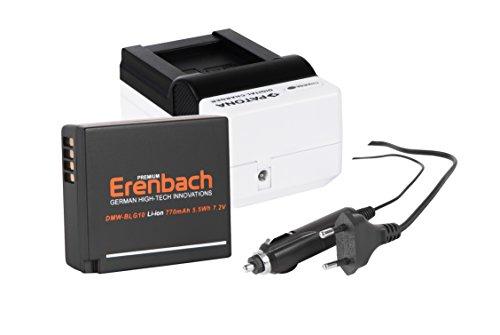 """2in1-SET für die Panasonic Lumix TZ101 / DMC-TZ101 --- ERENBACH High-Performance Akku + Schnell-Ladegerät \""""White Edition\"""" für Digitalkamera / Camcorder incl. KFZ-Lader (12V)"""