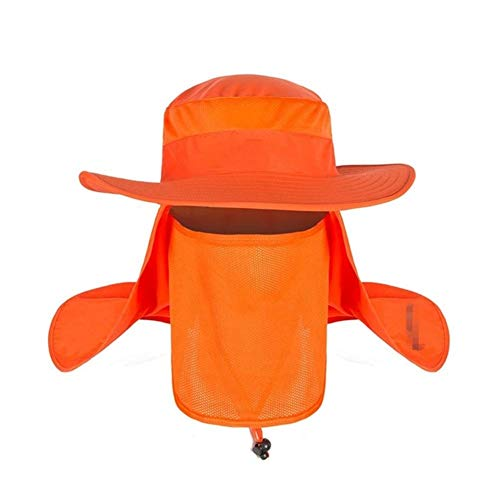 DANANGUA Sommer Camouflage Sonnenhüte Männer Frauen Garten Wandern Kopf Gesicht Protecter Net Abdeckung Camping Protector Hut Caps Sonnenhüte (Color : Orange, Size : One Size) -