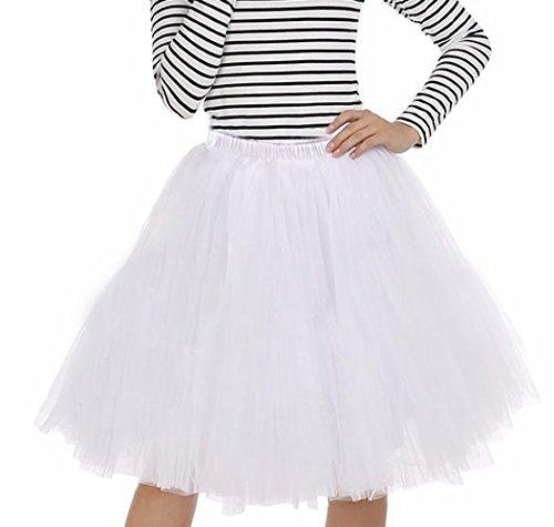 Imixcity Femme Rétro 50s Style Année TUTU Jupon Rockabilly Audrey Hepburn Petticoat-6 Couches B_Blanc