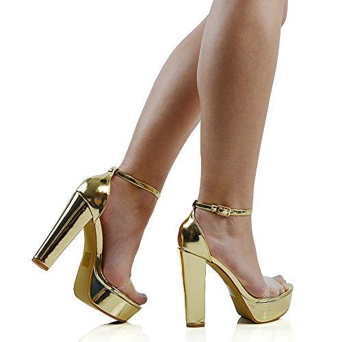 ESSEX GLAM Scarpa Donna Sintetica Sandalo Tacco a Blocco Alto Suola Spessa Cinturino alla Caviglia Oro metallizzato