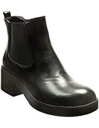 Angkorly - Zapatillas de Moda Botines chelsea boots zapatillas de plataforma mujer Talón Tacón ancho alto 5 CM - Negro