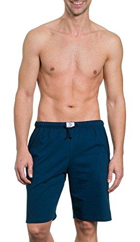 HAASIS BODYWEAR, Herren Bermuda kurz mit Seitentaschen, Single Jersey, Reine Baumwolle, Gummibund mit Kordel, Größe:L, Farbe:Navy -